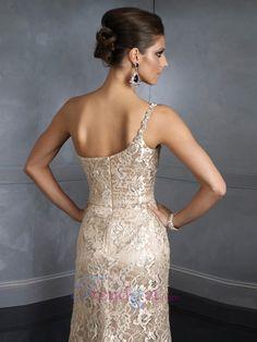 One Shoulder Lace Sheath / Column Organza Evening Dresses