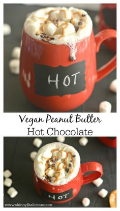 Steamy, hot, chocolate, peanut butter and marshmallows melt in your mouth in this Peanut Butter Hot Chocolate. A decadent and healthy drink!