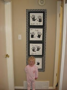 Kimberly, Heather & others...how about handprints on 12x12 scrapbook paper framed. As they grow, make another. Hang it on the same wall. <3 Shannon Handprint quilt