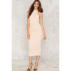 BOSSA Prague Bodycon Dress ($168) ❤ liked on Polyvore featuring dresses, beige, zip dress, halter neck dress, halter dress, button dress and beige bodycon dress
