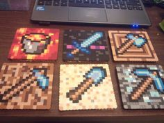 Minecraft Coaster Set perler beads by perlephile  these are the best coasters ever...I am certainly not going to copy the design, but I really like the idea and might do my own spin on it