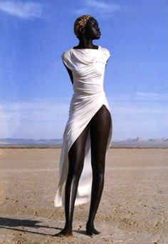 "80s-90s-supermodels:  ""Idoles"", Vogue France, April 1999Photographer : Herb RittsModel : Alek Wek"