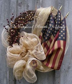 Americana Wreath, Patriotic, Fourth of July Wreath, Tea Stained Flag Wreath on Etsy, $119.00