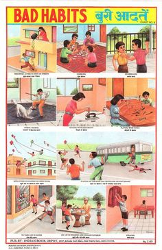 Indian public health and safety posters. Govt's attempt at Inculcating good habits in children Health And Safety Poster, Safety Posters, Raul Gutierrez, Metropolis Magazine, India School, Vintage India, Charts For Kids, School Posters, Girls Hand