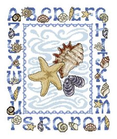 Seashell Alphabet cross stitch pattern.