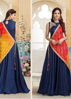 Make the heads turn when you dress up in this blue zardosi work designer floor length readymade suit.The charming embroidered and zardosi work a significant characteristic of this attire. Designer Party Wear Dresses, Kurti Designs Party Wear, Indian Designer Outfits, Indian Outfits, Designer Salwar Suits, Designer Sarees, Long Dress Design, Dress Neck Designs, Designs For Dresses