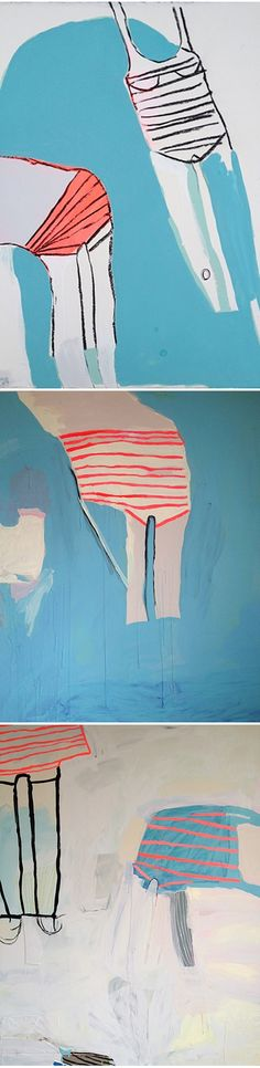 strange/abstract-ish swimsuit paintings, by American artist Sarah Boyts Yoder,