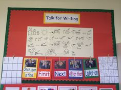 Talk for writing display. Talk 4 Writing, Writing Corner, Writing Area, Pre Writing, Primary Teaching, Teaching Phonics, Primary School, School Displays, Classroom Displays