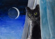 Black Cat at the Window, New Moon by Barbara Catherine Billotte
