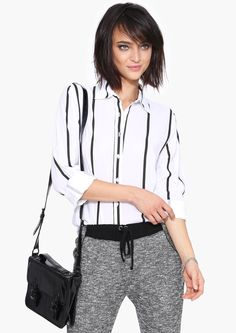 Cubicle Stripe Blouse in White | Necessary Clothing