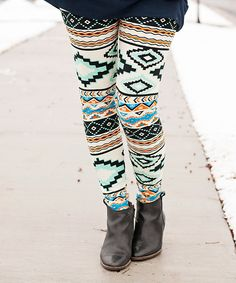 Loving this Mint & Cream Tribal Leggings on #zulily! #zulilyfinds