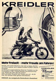 Kreidler Florett, ouwe advertentie. Let ook op het losse kinbandje van de bestuurder.