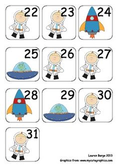 August / Space Theme Calendar Pieces for Numeracy Wall and  does not look like it has to be August