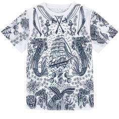 Organic cotton jersey Comfortable item Crew neck Stretch ribbed knit trims Short sleeves Fancy print - $ 58