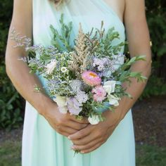 great vancouver wedding Wild & Summery bridesmaid bouquet from M&J's wedding. Photo by www. ohlovephotos.com #olfco #wild #bridesmaidbouquet #vancouverflorist by @ourlittleflowercompany  #vancouverflorist #vancouverwedding #vancouverwedding