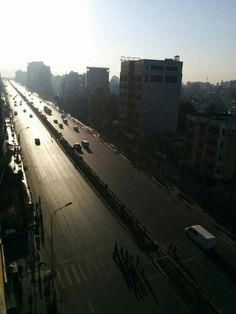 A shainy road in Addis Ababa.