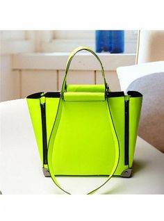 Green Fashion Satchels Bag by HananhX Green Bag, Green Fashion, Fashion Pictures, Emerald Green, Bellisima, World Of Fashion, Recycling, Satchels, Neon
