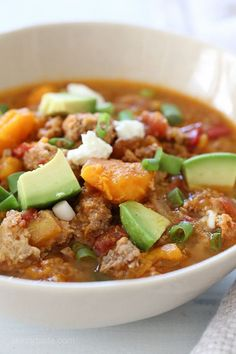This easy-prep Slow Cooker Paleo Jalapeno Popper Chicken Chili, perfect for Fall, football games, and chili season! This delicious, hearty, bean-less chili recipe made in the slow cooker with ground chicken, ground beef and sweet potatoes – the perfect combination. Also great in the pressure cooker (directions provided for both)!