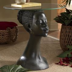 African Woman Table from Midnight Velvet. African Living Rooms, African Bedroom, African Themed Living Room, African Interior Design, African Design, African Women, African Art, African Style, African Masks