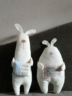 a pair of handmade rabbit dolls / soft sculpture Softies, Felt Crafts, Easter Crafts, Kids Crafts, Sewing Crafts, Sewing Projects, Fabric Toys, Toy Art, Sewing Dolls