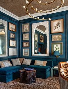 Eclectic Gallery Walls - laurel home Markham Roberts for the Kips Bay Showhouse. Lovely display of art cool Moroccan mirrors. Love the peacock blue walls too! Blue Rooms, Blue Walls, Kips Bay Showhouse, Moroccan Mirror, Eclectic Gallery Wall, Interior Decorating, Interior Design, Design Art, 2017 Design