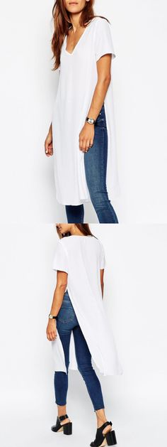 White V Neck Slits Side Long T-shirt
