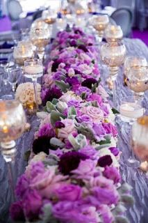 33 Lavender Wedding Decor Ideas You Will Love Purple Wedding Centerpieces, Wedding Decorations, Table Decorations, Wedding Table Settings, Wedding Tables, Table Runner Pattern, Mod Wedding, Wedding Ideas, Purple Flowers