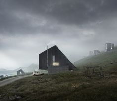 Faroe Islands Housing. The architecture proposed is simple, it positions itself and is conditioned by its environment as a total poetic work of contextual, site specific zero carbon architecture.