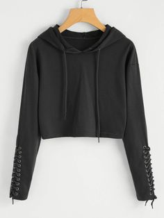 Shop Grommet Lace Up Sleeve Crop Hoodie online. SheIn offers Grommet Lace Up Sleeve Crop Hoodie & more to fit your fashionable needs. Crop Top Outfits, Cute Casual Outfits, Stylish Outfits, Hoodie Sweatshirts, Hoodies, Teen Fashion Outfits, Outfits For Teens, Jugend Mode Outfits, Teenager Outfits