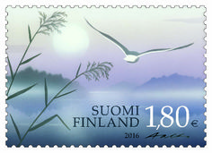 Finland Post has prepared for releasing a magnificent stamp that praises the beauty of nature. An item that depicts a harmonic water scene that got the name Finland Travel, Stamp Collecting, Time Travel, Postage Stamps, Nostalgia, Wings, Around The Worlds, Scene, Illustration