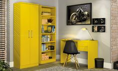 Home Office amarelo.