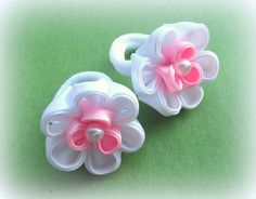 Baby Hair Clips, Flower Shape, Handmade Flowers, Fabric Flowers, Bows, Shapes, Sewing, Ribbons, Headbands