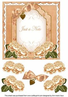 Peach Rose Just a Note Fancy 7in Decoupage Topper on Craftsuprint - Add To Basket!