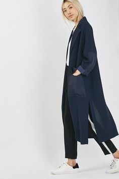 Contrast Panel Duster Coat