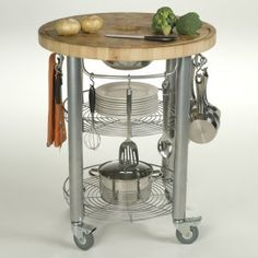 - Add extra space for your culinary adventures with this round, kitchen work station. This Chris & Chris Stadium work station is in diameter. It features a two-inch thick solid end grain hardwood surface and two stationary shelves for Wire Basket Shelves, Wire Shelving, Kitchen Island Cart, Kitchen Carts, Kitchen Islands, Kitchen Gadgets, Kitchen Utensils, Kitchen Tools, Kitchen Storage