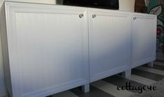 Use beadboard wallpaper and molding to dress up plain doors on ikea cabinet
