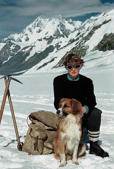 On a winter mountaineering adventure vintage #hiking #climbing #dogs