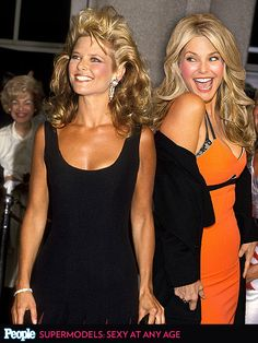 Supermodels Kate Moss, Christie Brinkley, More Pose with Their Younger Selves Janice Dickinson, Fashion Art, Vintage Fashion, Galaxy T Shirt, Christie Brinkley, Christy Turlington, Star Wars Rebels, Cindy Crawford, People Magazine