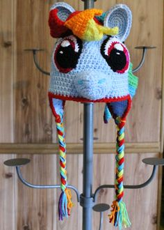 My Little Pony Rainbow Dash Crochet Hat by TOPstitchesCrochet