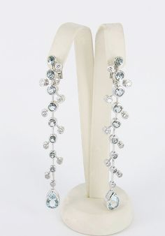18kt White Gold Diamond and Aquamarine Earrings
