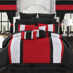 Dylania 24 Piece Room in a Bag by Chic Home Red. Black And White Bedroom Set Room In A Bag, Bed In A Bag, Red Bedroom Design, White Bedroom, Red Bedroom Decor, Monochrome Bedroom, Bedroom Décor, Red Bedding, White Bedding