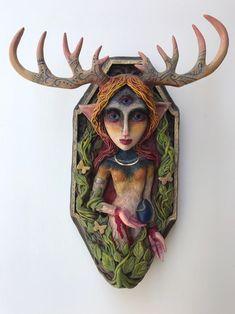 Christine K. Harris - Healer Deer Woman Polymer Sculpture - Hand Painted one of a kind sculptures by Virginia Art Christine K. Harris - Tim Burton like art Wall Art Sets, Framed Wall Art, Framed Art Prints, Canvas Wall Art, Sculptures, Lion Sculpture, Modern Wall Art, Healer, Moose Art