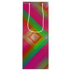 Geometric Design Wine Gift Bag - christmas craft supplies cyo merry xmas santa claus family holidays