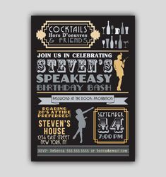 Speakeasy Prohibition Art Deco Invitation, perfect for an adult birthday, birthday, roaring birthday or graduation! Roaring 20s Birthday Party, Gatsby Themed Party, Great Gatsby Party, 30th Birthday Parties, 21 Party, Prohibition Party, Speakeasy Party, Flapper Party, 1920s Party