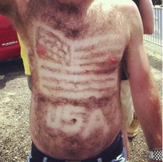 Patriotic-Amazing body hair art