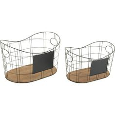 Stow pet toys or laundry room supplies in these essential metal baskets, featuring convenient side handles and wood bottoms.  Produc...
