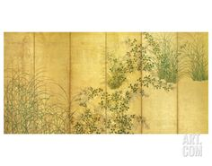 Japanese Autumn Grasses, Six-Fold Screen, Early Edo Period Premium Giclee Print at Art.com