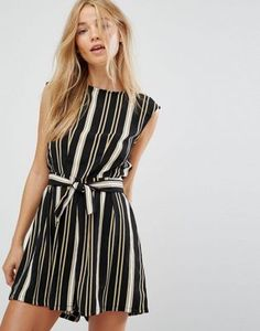 New Look Stripe Tie Front Playsuit
