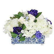 "15"" Hydrangeas & Anemones in Vase, Faux"