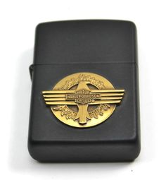 Vintage HARLEY DAVIDSON Eagle & Sun Black Matte Zippo Lighter +Box 97204-97Z